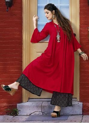 Red Rayon Designer Kurti