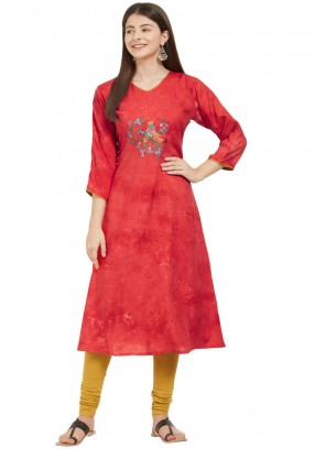 Red Rayon Embroidered Party Wear Kurti