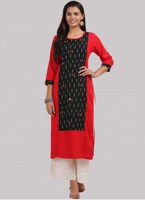 Red Rayon Party Wear Kurti