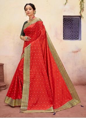 Red Reception Contemporary Saree