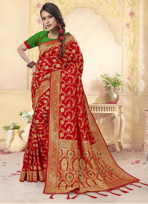 Red Reception Designer Saree