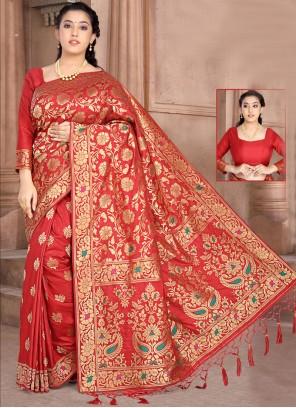 Red Reception Silk Classic Saree