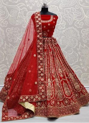 Red Resham A Line Lehenga Choli