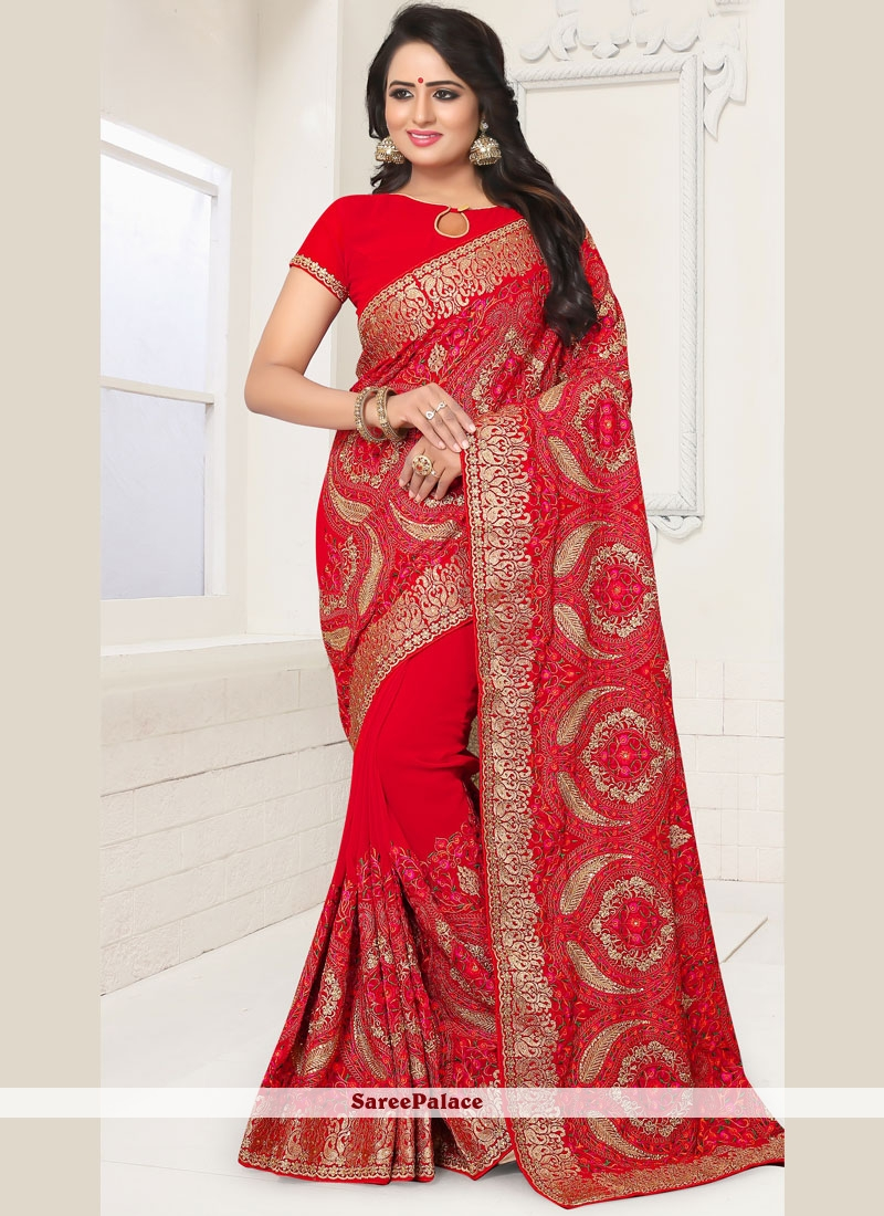 Red Resham Classic Designer Saree