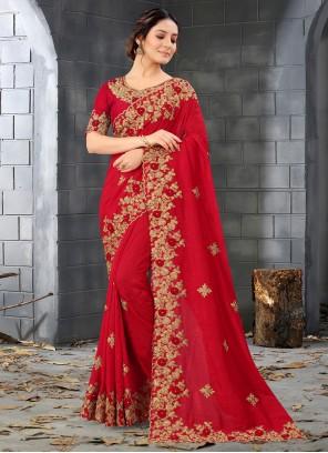 Red Resham Designer Saree