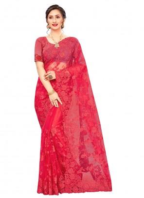 Red Embroidered Resham Net Classic Saree