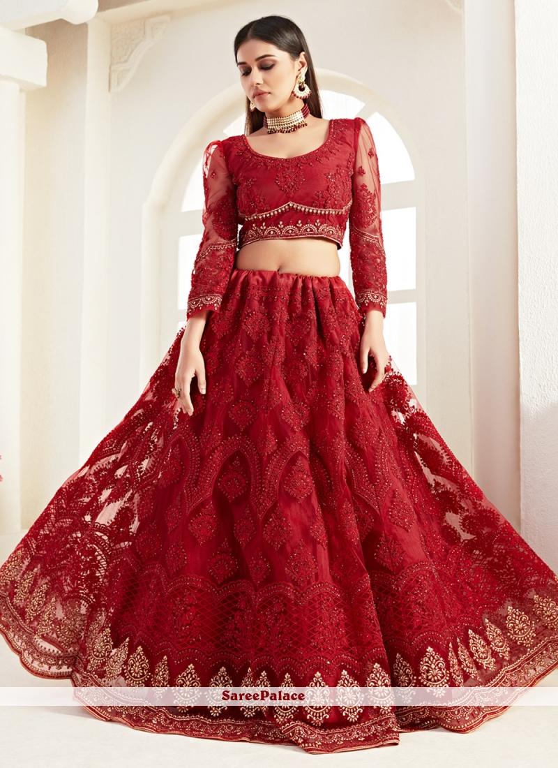 Red Resham Net Designer Lehenga Choli