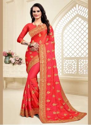 Red Resham Satin Silk Classic Saree