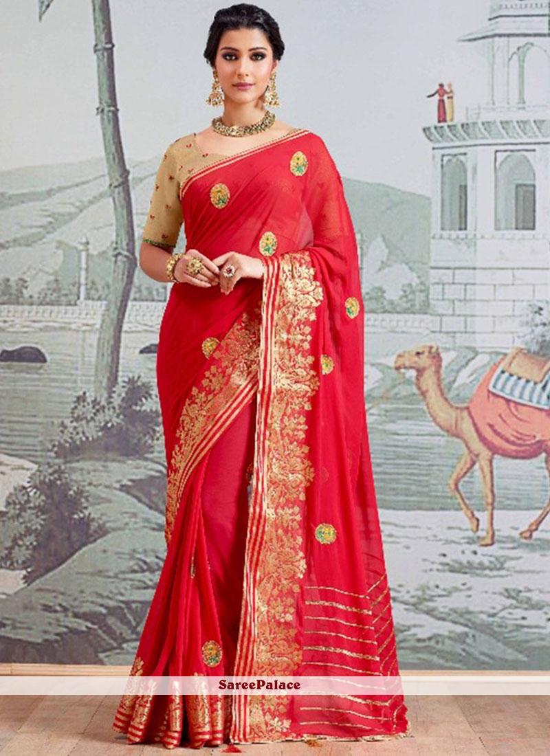 85005900ea1c7 Buy Red Resham Work Faux Georgette Classic Designer Saree Online