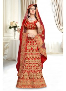 Red Resham Work Lehenga Choli
