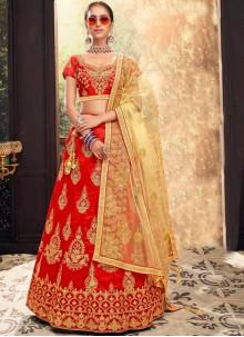 Red Sangeet Banglori Silk Lehenga Choli