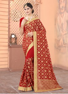 Red Sangeet Designer Traditional Saree