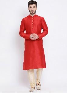 Red Sangeet Dupion Silk Kurta Pyjama