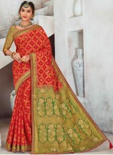 Red Sangeet Raw Silk Designer Saree
