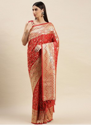 Red Sangeet Traditional Designer Saree