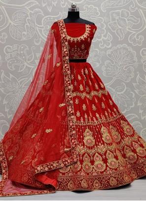 Red Sangeet Velvet A Line Lehenga Choli