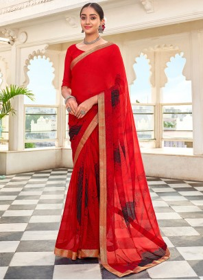 Red Faux Georgette Abstract Print Saree