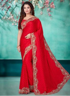 Red Satin Festival Designer Traditional Saree