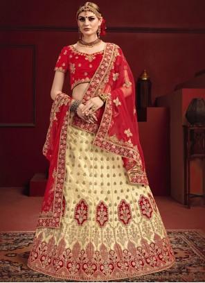 Red Satin Mehndi Designer Lehenga Choli