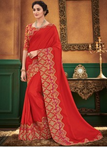 Red Satin Silk Ceremonial Designer Traditional Saree