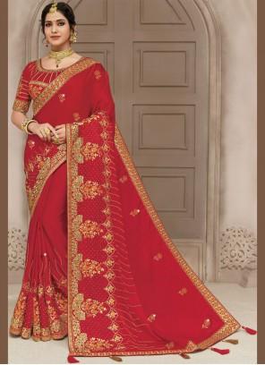 Red Satin Silk Classic Designer Saree