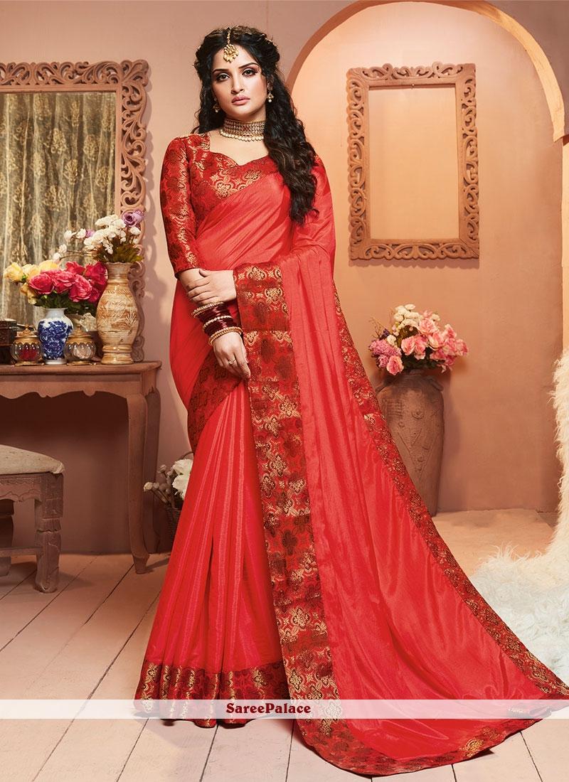 Red Satin Silk Festival Classic Saree