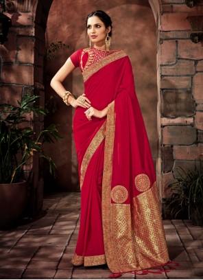 Red Satin Silk Mehndi Designer Saree