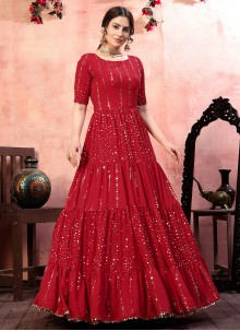 Red Sequins Faux Georgette Designer Gown