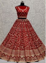 Red Sequins Velvet Lehenga Choli