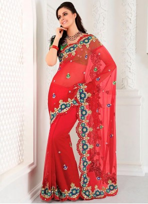 Red Shaded Applique Work Net Saree