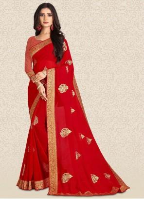 Red Silk Bollywood Saree