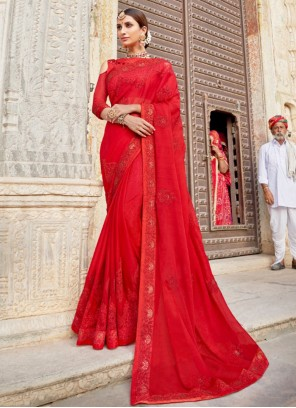 Red Silk Ceremonial Contemporary Saree