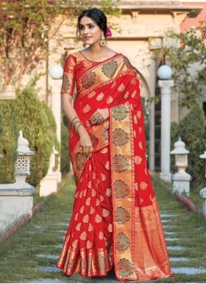 Red Silk Ceremonial Designer Traditional Saree