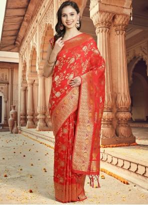 Red Silk Ceremonial Traditional Designer Saree