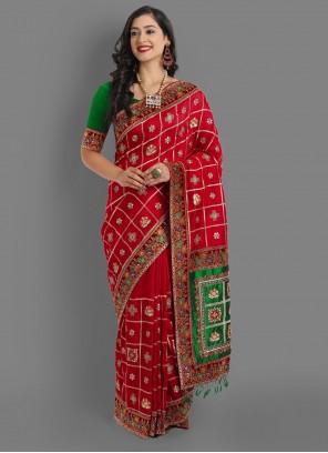Red Silk Ceremonial Traditional Saree