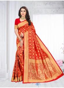 Red Silk Classic Designer Saree