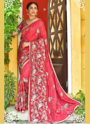 Red Silk Sequins Classic Designer Saree