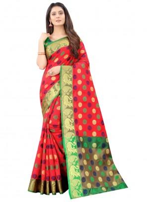 Red Silk Designer Traditional Saree
