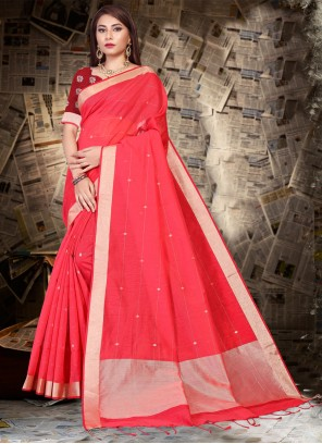 Red Silk Festival Designer Saree