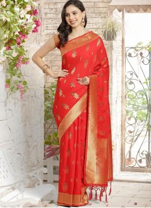 Red Silk Festival Designer Traditional Saree