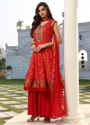 Red Silk Festival Readymade Suit