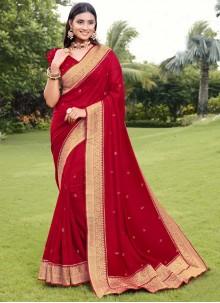Red Silk Festival Traditional Designer Saree