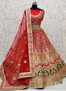 Red Patch Border Resham Silk Lehenga Choli