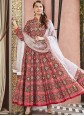 Red Silk Patola Print Readymade Anarkali Salwar Suit