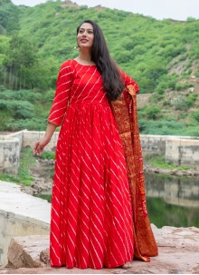 Fancy Work Red Silk Readymade Suit