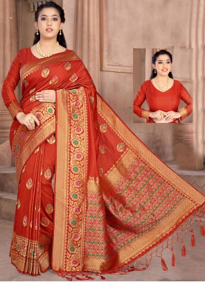 Red Silk Reception Classic Designer Saree