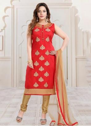 Red Silk Resham Bollywood Salwar Kameez