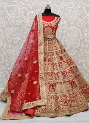 Red Silk Sangeet Lehenga Choli