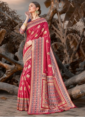 Red Silk Embroidered Traditional Saree