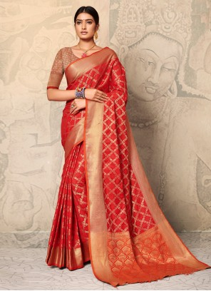 Red Silk Trendy Saree